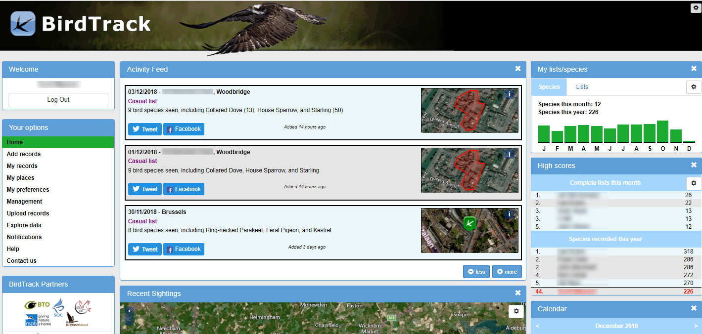 BirdTrack home page