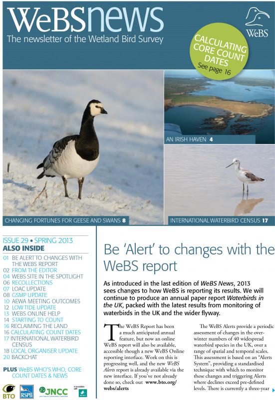 WeBS news - spring 2013 cover