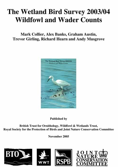 The Wetland Bird Survey 2003/04 - Wildfowl and Wader Counts cover