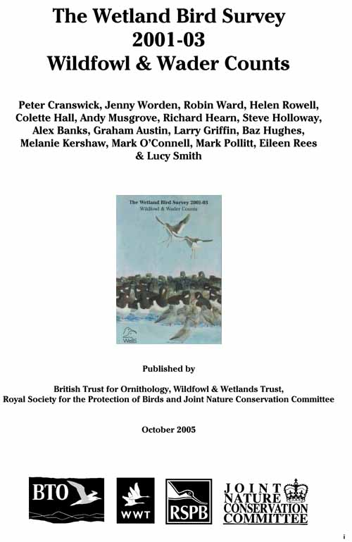 The Wetland Bird Survey 2001-03: Wildfowl and Wader Counts cover