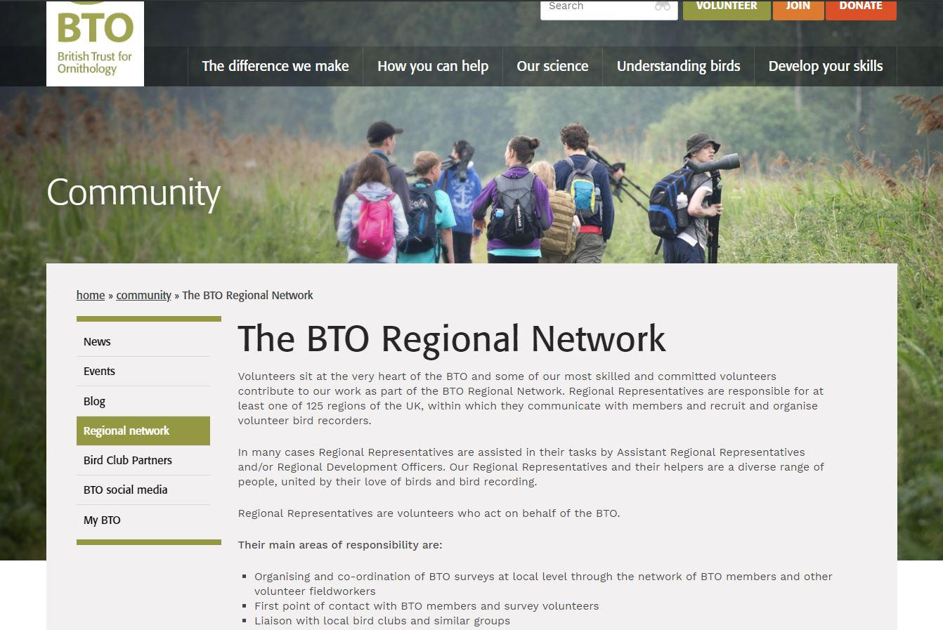 Revised website - Regional Network page