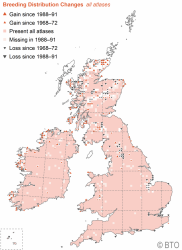 Map showing Bullfinch population gains and losses