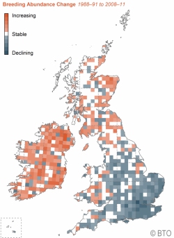 Map showing House Martin breeding abundance