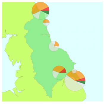 North East map with short-term WeBS alert pie charts