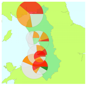 North West map with short-term WeBS alert pie charts