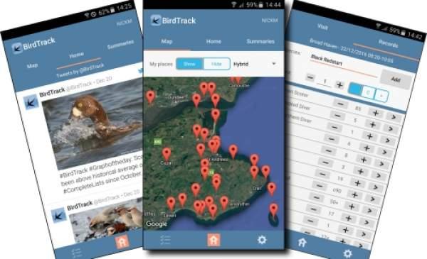 Screenshots from the BirdTrack app