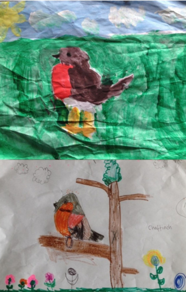 Drawings by Edward, 9 and Bryony, 5