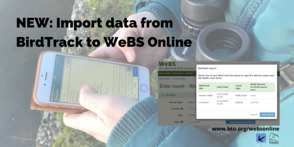 Import from BirdTrack feature in WeBS Online
