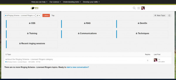 Screenshot of the Ringers' forum landing page