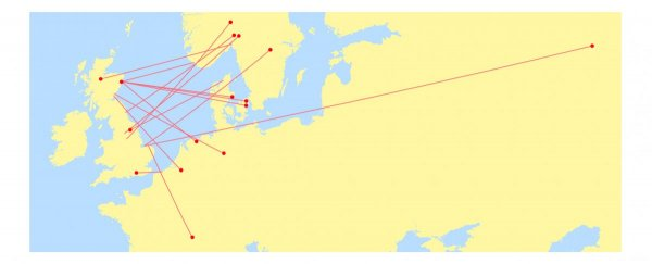 waxwing points of origin and travel