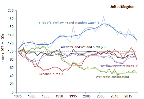 The abundance of breeding water and wetland birds