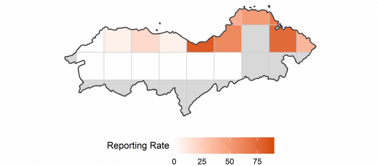 Reporting rate of Eider per 10-km square in Lothian in 2020.