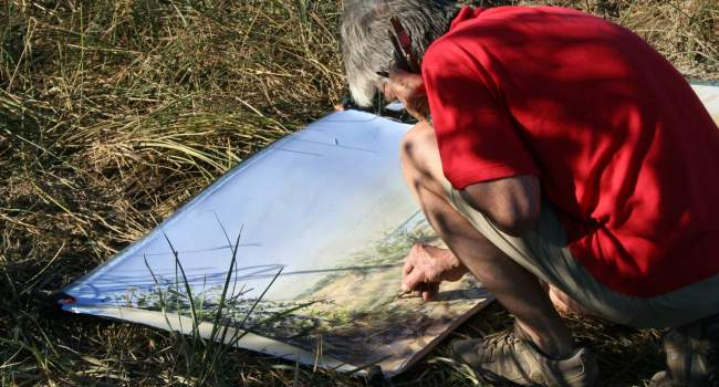 Artist Bruce Pearson working in the field in Senegal as part of the BTO/SWLA Flight Lines project