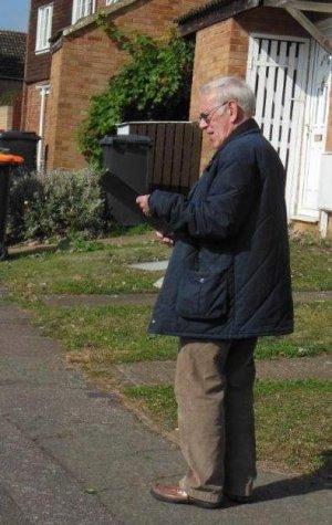 Alan Gomersall surveying his urban BBS square
