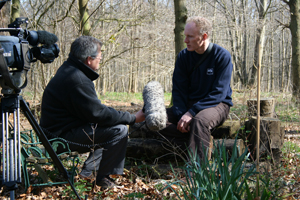 Filming with the BBC for a story about amphibians in gardens