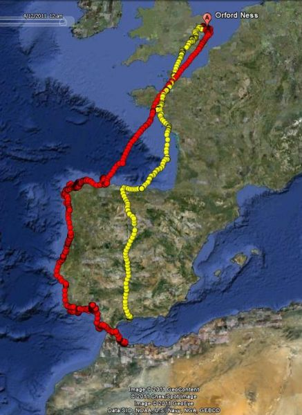 Outward (red) and inward (yellow) journeys of one bird.