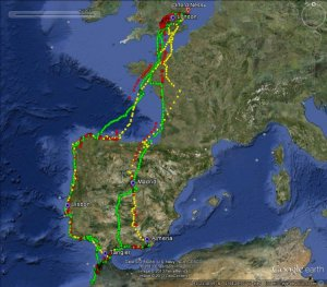 Movements of gull 395 in three winters