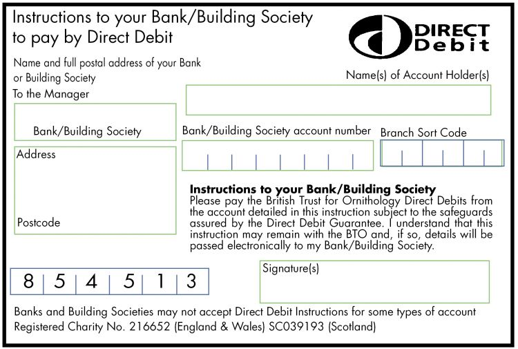 Direct Debit Form | Membership Application Renewal Form For Printing Bto British