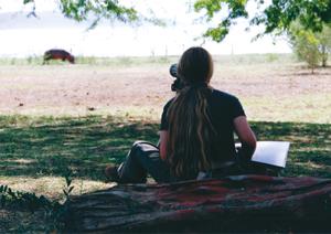 An SWLA artist working in Africa