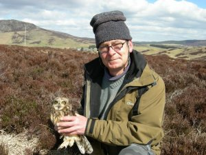 Owl research in action. Neil Morrison with a bird in the hand. Photo by John Calladine.