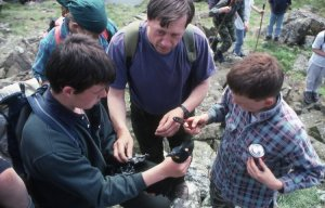 Bob with school children from the Tain bird club