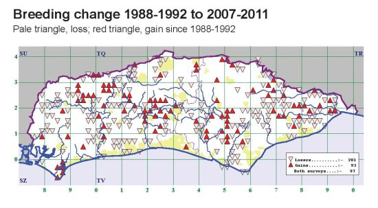 Changes since the last Sussex breeding atlas (1988-1992)